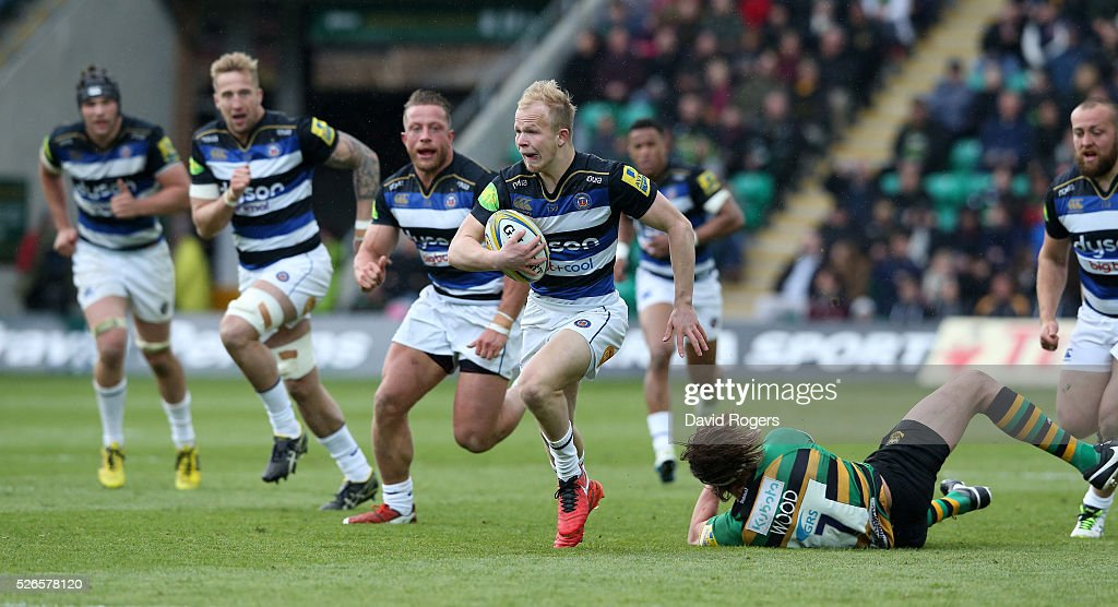 Will Homer of Bath breaks with the ball during the Aviva Premiership match between Northampton Saints and Bath at Franklin's Gardens on April 30, 2016 in Northampton, England.