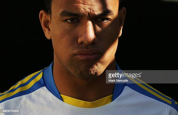 Will Hopoate arrives at a Parramatta Eels NRL training session at Pirtek Stadium on May 16 2014 in Sydney Australia