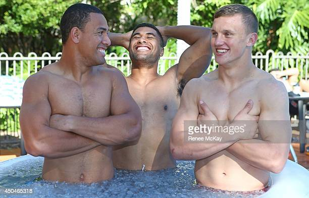 Will Hopoate Michael Jennings and Jack Wighton take an ice bath during a New South Wales Blues State of Origin training session at Novotel Coffs...
