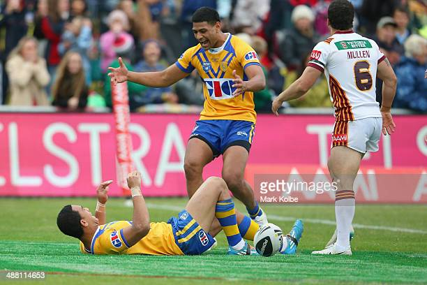 Will Hopoate of City celebrates with Daniel Tupou of City after scoring a try in the last minute of the match during the Origin match between City...