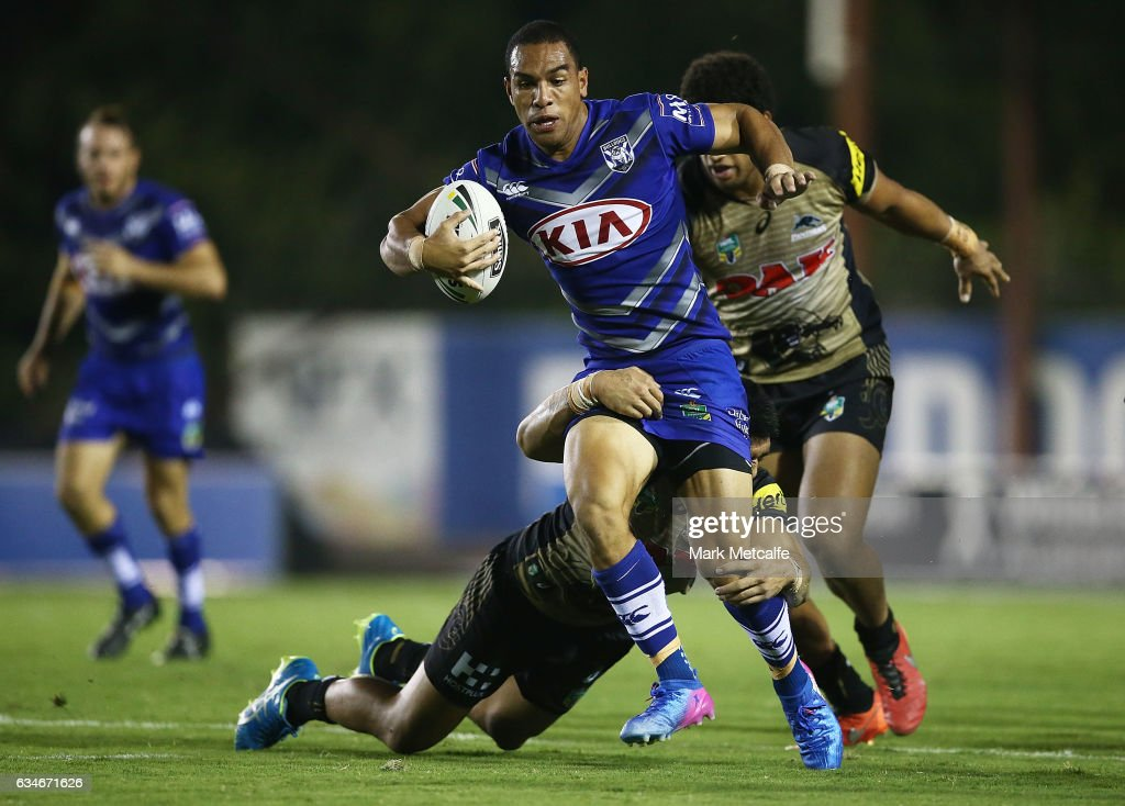 Will Hopoate of the Bulldogs is tackled during the NRL Trial match between the Canterbury Bulldogs and the Penrith Panthers at Belmore Sports Ground on February 11, 2017 in Sydney, Australia.