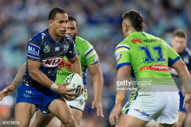 Will Hopoate of the Bulldogs runs the ball during the round nine NRL match between the Canterbury Bulldogs and the Canberra Raiders at ANZ Stadium on...