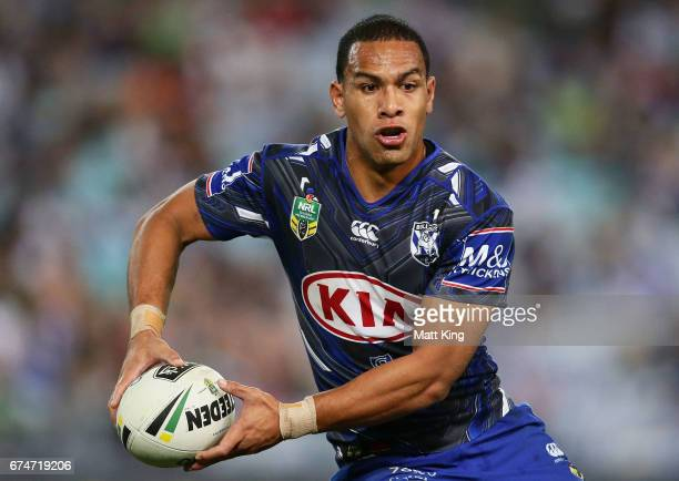 Will Hopoate of the Bulldogs runs with the ball during the round nine NRL match between the Canterbury Bulldogs and the Canberra Raiders at ANZ...