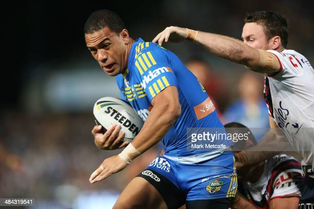Will Hopoate of the Eels is tackled during the round 6 NRL match between the Parramatta Eels and the Sydney Roosters at Pirtek Stadium on April 12...