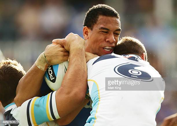 Will Hopoate of the Eels is tackled during the round six NRL match between the Parramatta Eels and the Gold Coast Titans at Pirtek Stadium on April...