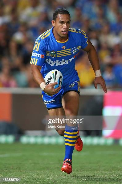 Will Hopoate of the Eels runs the ball back from a kick during the round one NRL match between the Parramatta Eels and the Manly Sea Eagles at Pirtek...