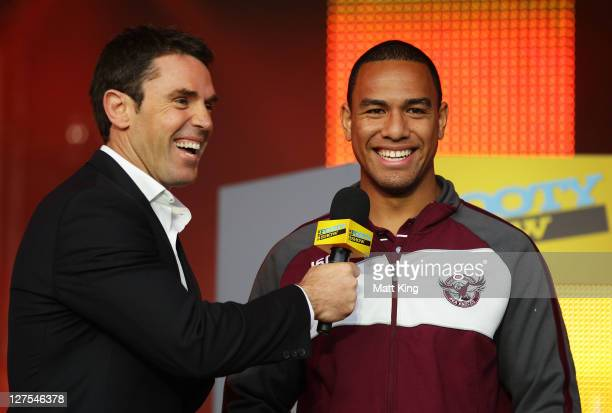 Will Hopoate of the Manly Warringah Sea Eagles is interviewed on stage by Brad Fittler during the 2011 NRL Grand Final Fan Day at Darling Harbour on...