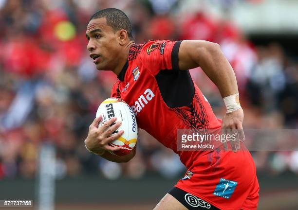 Will Hopoate of Tonga during the 2017 Rugby League World Cup match between the New Zealand Kiwis and Tonga at Waikato Stadium on November 11 2017 in...
