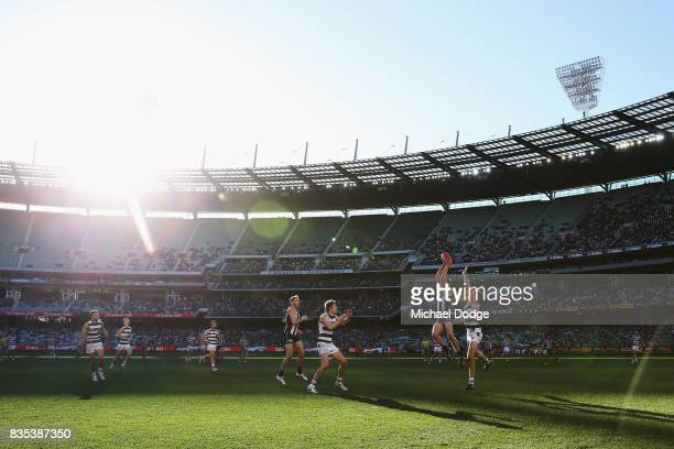 Will HoskinElliott marks the ball during the round 22 AFL match between the Collingwood Magpies and the Geelong Cats at Melbourne Cricket Ground on...