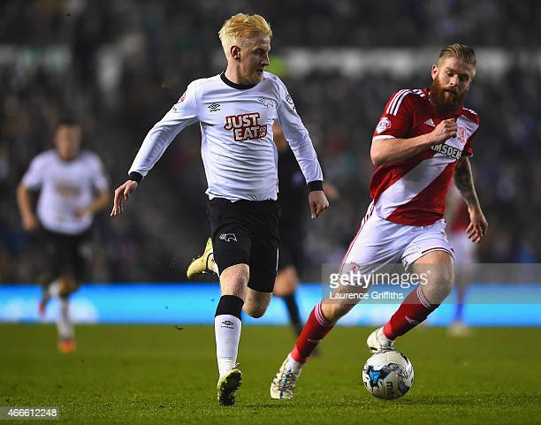 Will Hughes of Derby and Adam Clayton of Middlesbrough compete for the ball during the Sky Bet Championship match between Derby County and...