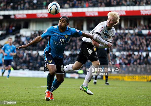 Will Hughes of Derby battles with Lee Peltier of Leeds during the npower Championship match between Derby County and Leeds United at Pride Park on...