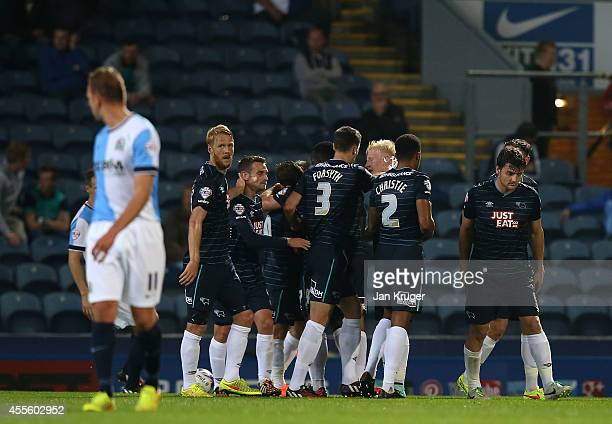 Will Hughes of Derby County celebrates his goal with team mates during the Sky Bet Championship match between Blackburn Rovers and Derby County at...