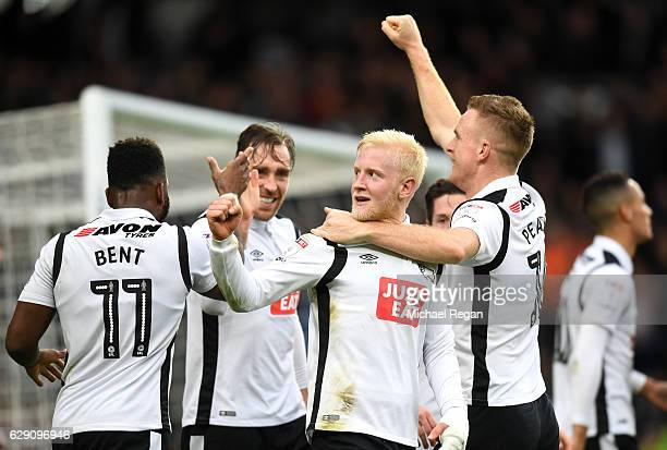 Will Hughes of Derby County celebrates scoring his side's third goal with team mates during the Sky Bet Championship match between Derby County and...
