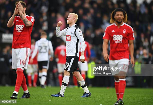Will Hughes of Derby County celebrates victory after full time whistle during the Sky Bet Championship match between Derby County and Nottingham...