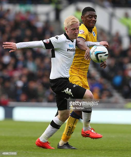Will Hughes of Derby County contests the ball with Rohan Ince of Brighton Hove Albion during the Sky Bet Championship Semi Final Second Leg between...