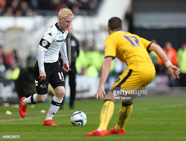 Will Hughes of Derby County moves forward with the ball against Stephen Ward of Brighton Hove Albion during the Sky Bet Championship Semi Final...