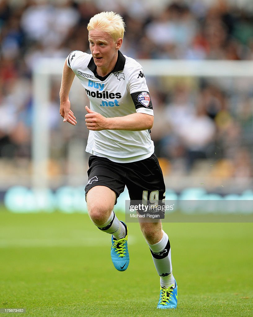 Will Hughes of Derby in action during the Sky Bet Championship match between Derby County and Blackburn Rovers at Pride Park Stadium on August 04, 2013 in Derby, England,