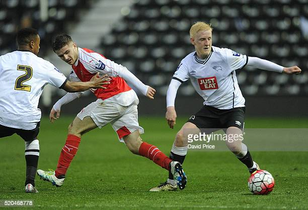 Will Hughes of Derby turns away from Dan Crowley of Arsenal during the Barclays U21 Premier League match between Derby County U21 and Arsenal U21 at...