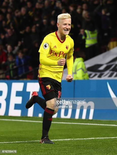 Will Hughes of Watford celebrates as he scores their first goal during the Premier League match between Watford and West Ham United at Vicarage Road...