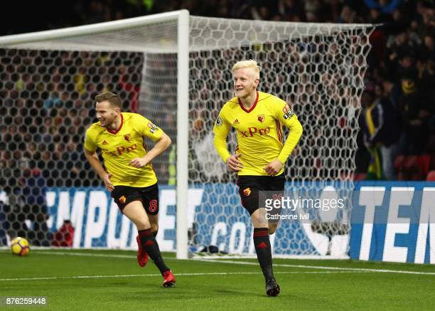 Will Hughes of Watford celebrates as he scores their first goal with team mate Tom Cleverley during the Premier League match between Watford and West...