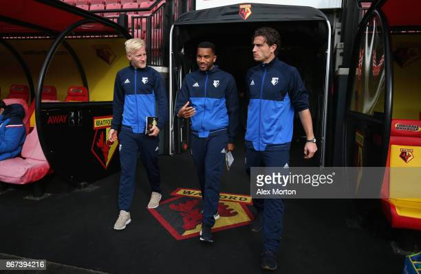 Will Hughes of Watford Jerome Sinclair of Watford and Daryl Janmaat of Watford arrive at the stadium prior to the Premier League match between...