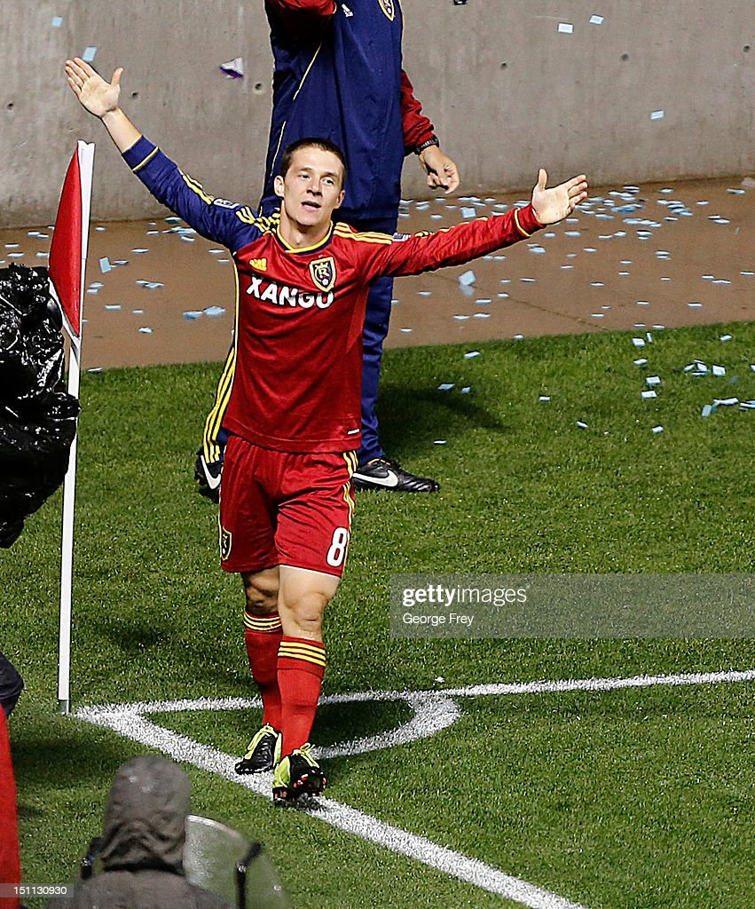 Will Johnson of Real Salt Lake celebrates his goal against DC United during the second half of an MLS soccer game September 1 2012 at Rio Tinto...