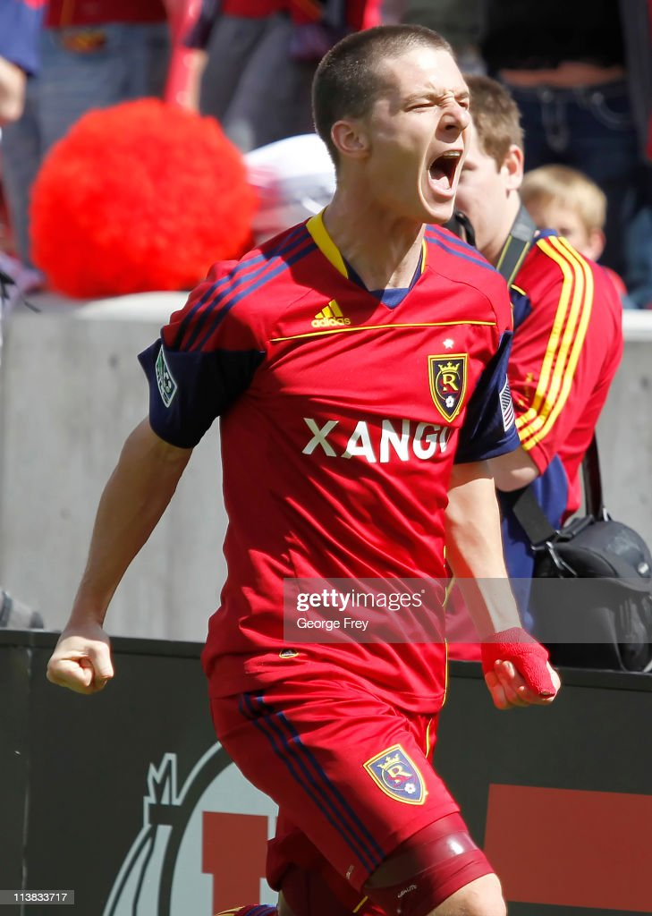 Will Johnson of Real Salt Lake celebrates the game winning goal against Chivas USA during the second half of an MLS soccer game May 7 2011 at Rio...