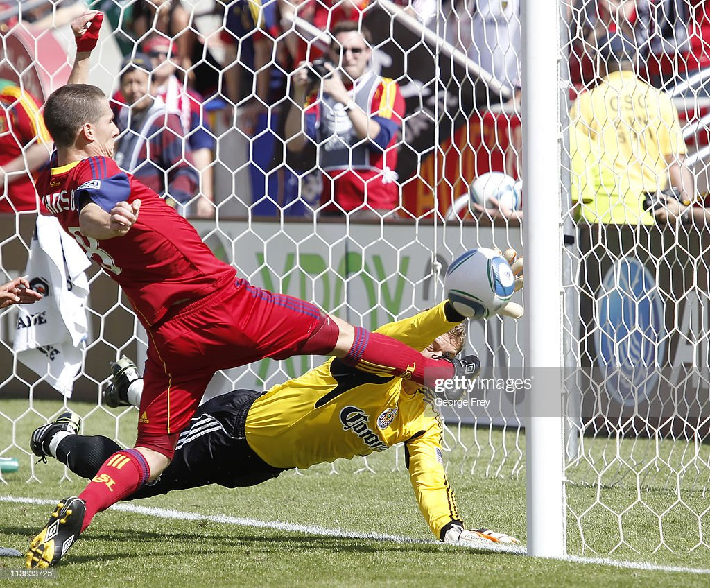 Will Johnson of Real Salt Lake scores the game winning goal on goalie Dan Kennedy of Chivas USA during the second half of an MLS soccer game May 7...
