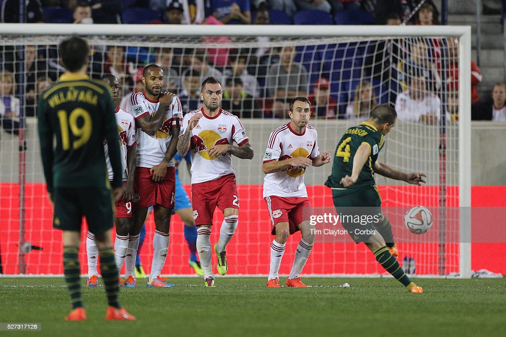 Will Johnson Portland Timbers shoots past the New York Red Bulls wall during the New York Red Bulls Vs Portland Timbers Major League Soccer regular...