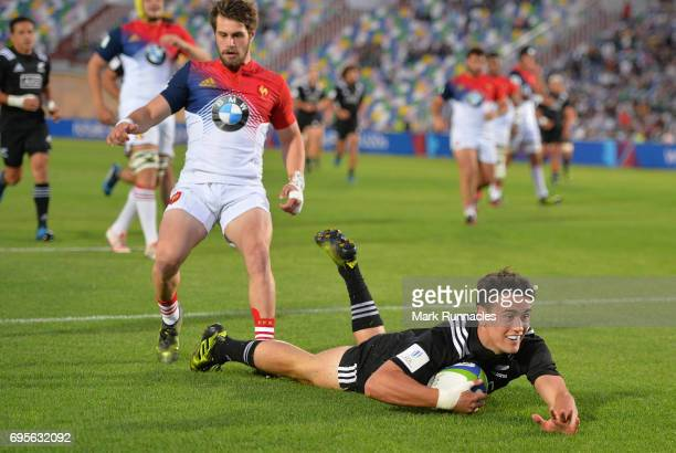 Will Jordan of New Zealand breaks free to score a try during the World Rugby U20 Championship Semi Final match between New Zealand and France at...