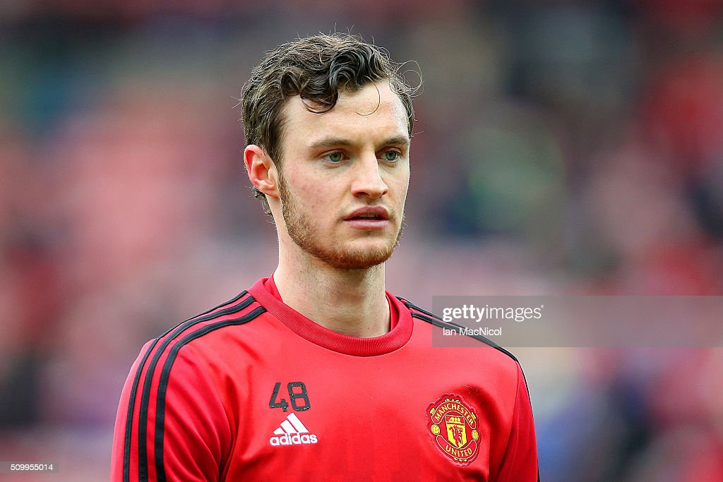 Will Keane of Manchester United is seen during the warm up prior to the Barclays Premier League match between Sunderland and Manchester United at the Stadium of Light on February 13, 2016 in Sunderland, England.