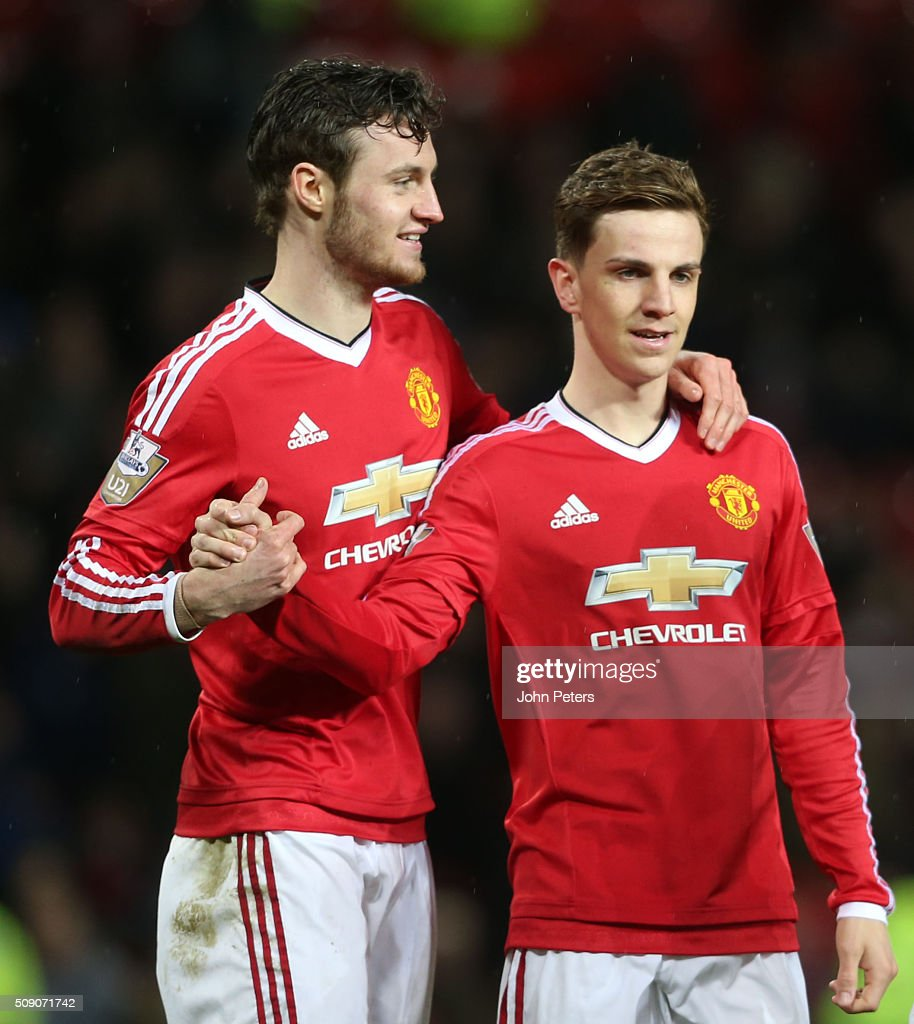 <a gi-track='captionPersonalityLinkClicked' href=/galleries/search?phrase=Will+Keane&family=editorial&specificpeople=6874041 ng-click='$event.stopPropagation()'>Will Keane</a> of Manchester United U21s celebrates scoring their third goal during the U21 Premier League match between Manchester United U21s and Norwich City U21s at Old Trafford on February 8, 2016 in Manchester, England.