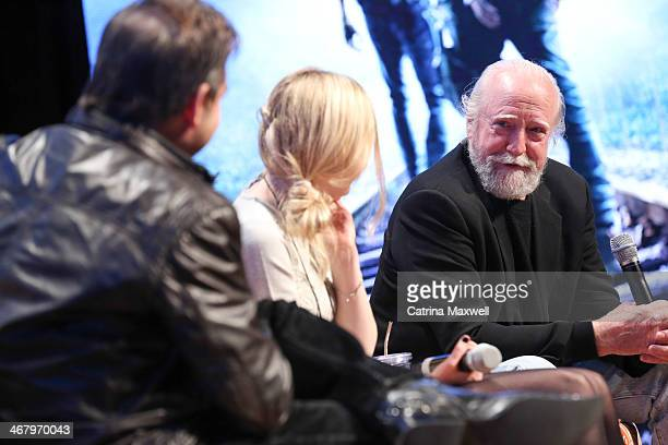 Will Keck of TV Guide actress Emily Kinney and actor Scott Wilson speak during a a panel discussion following a screening of 'The Walking Dead'...