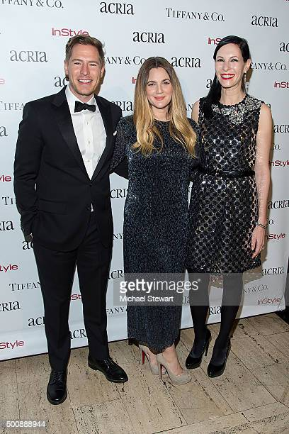 Will Kopelman Drew Barrymore and Jill Kargman attend ACRIA's 20th Anniversary Holiday Dinner at The Cunard Building on December 10 2015 in New York...