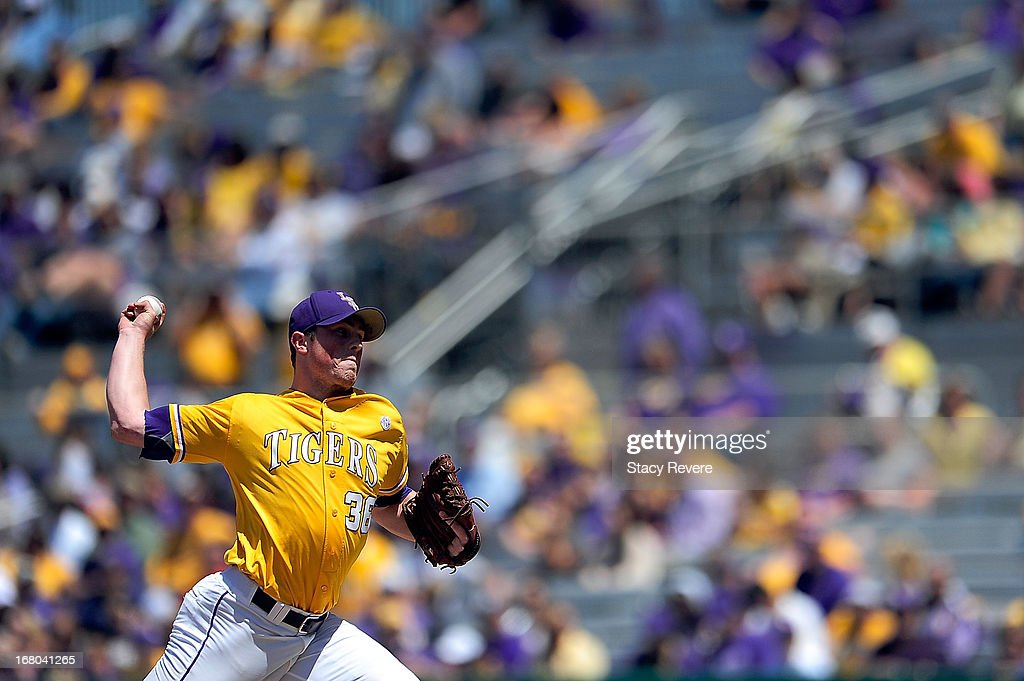Will LaMarche #36 of the LSU Tigers throws a pitch against the Florida Gators during a game at Alex Box Stadium on May 4, 2013 in Baton Rouge, Louisiana.