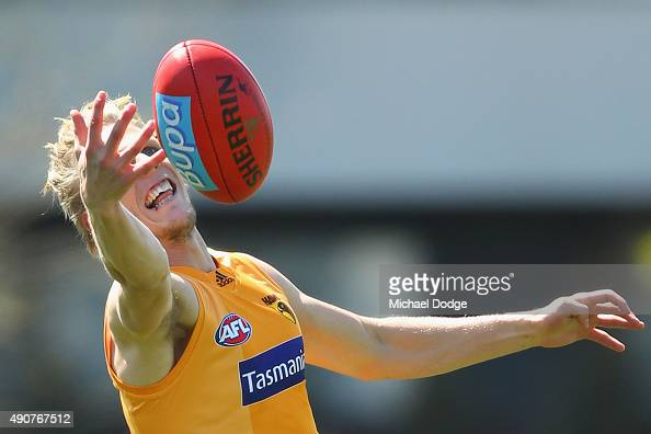 Will Langford of the Hawks marks the ball during a Hawthorn Hawks AFL training session at Waverley Park on October 1 2015 in Melbourne Australia