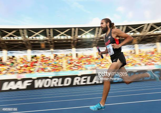 Will Leer of the United States competes in the Men's 4x1500 metres relay final during day two of the IAAF World Relays at the Thomas Robinson Stadium...