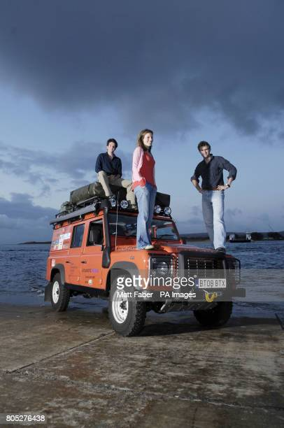 Will Lorimer Lynn Morris and Tim Bromfield of Atlantic Rising winners of the 2009 RGSIBG 'Go Beyond' Bursary stand next to their Land Rover Defender...
