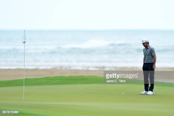 Will MacKenzie studies the 12th green during the third round of the Puerto Rico Open at Coco Beach on March 25 2017 in Rio Grande Puerto Rico