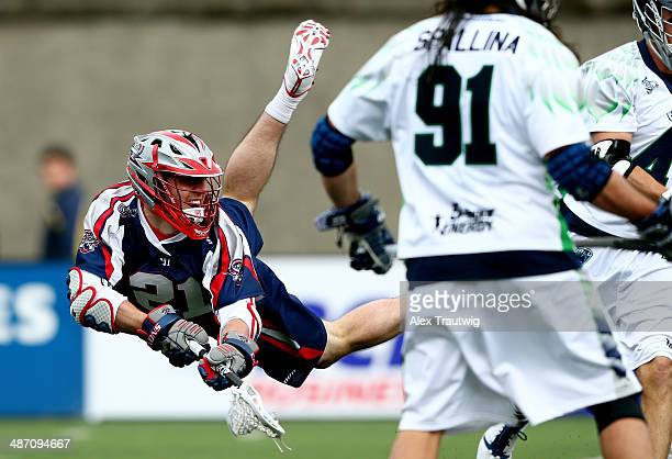 Will Mangan of the Boston Cannons takes a shot against the Chesapeake Bayhawks during a game at Harvard Stadium on April 27 2014 in Boston...