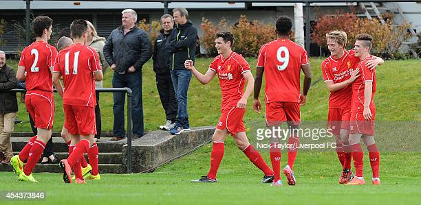 Will Marsh of Liverpool celebrates his goal with his team mates during the Barclays Premier League Under 18 fixture between Liverpool and Manchester...