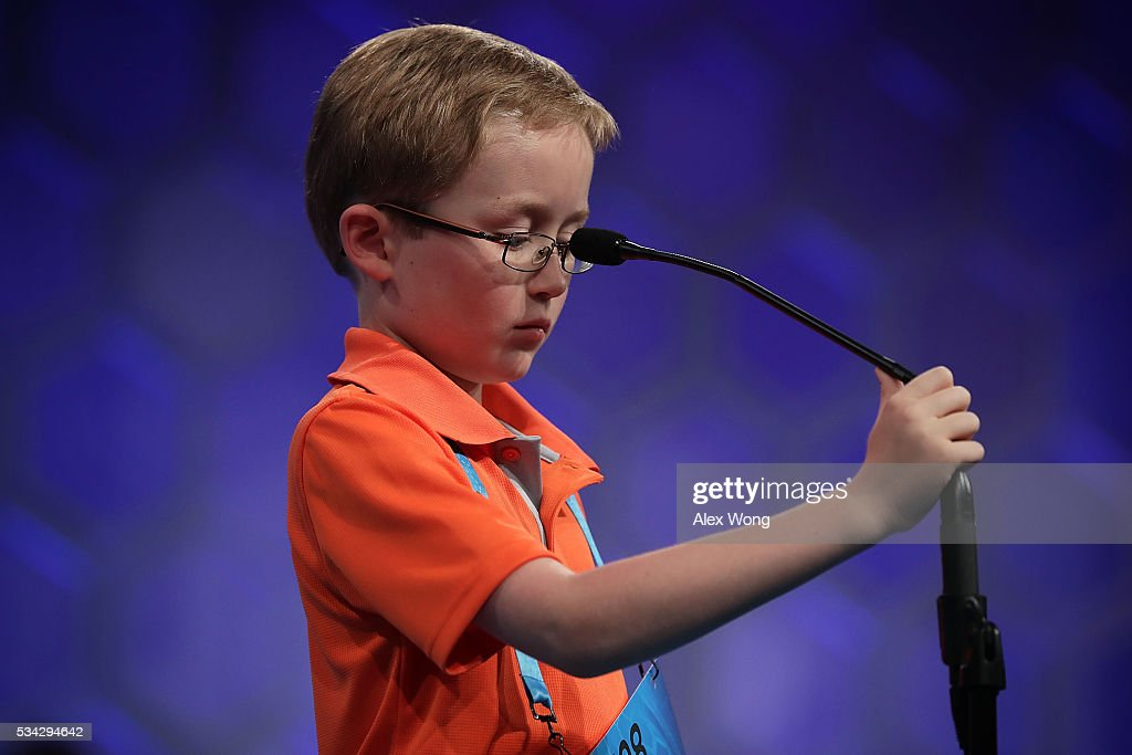 Will McCollom of Tulsa, Oklahoma, participates in round three of the 2016 Scripps National Spelling Bee May 25, 2016 in National Harbor, Maryland. Students from across the country gathered to compete for top honor of the annual spelling championship.