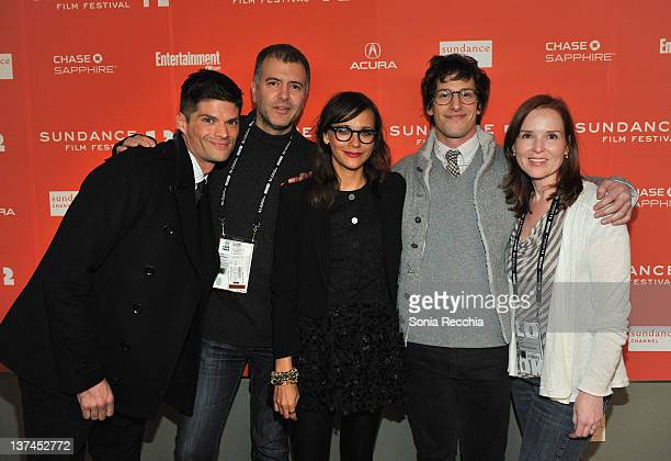 Will McCormack Lee Nelson Rashida Jones Andy Samberg and Jennifer Todd arrive at 'Celeste And Jesse Forever' at the Eccles Center Theatre during the...