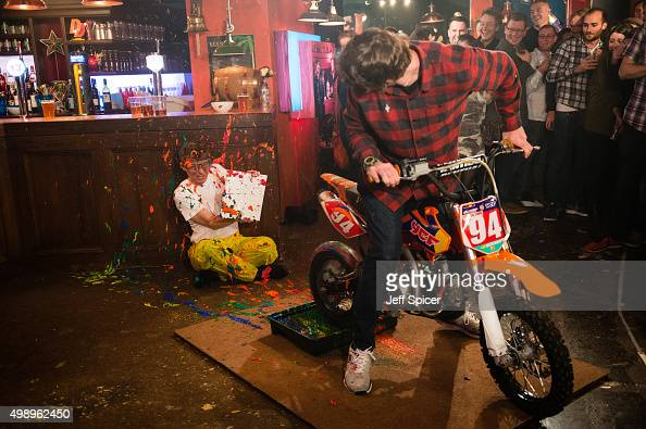 Will McDonald and Travis Pastrana during a live broadcast of 'TFI Friday' on November 27 2015 in London England
