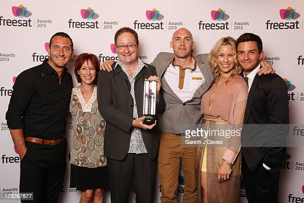 Will Mellor Tanya Franks Chris Chibnall Joe Sims Simone McAullay and Jonathan Bailey Winners of the Best of British TV Programme at The Freesat...