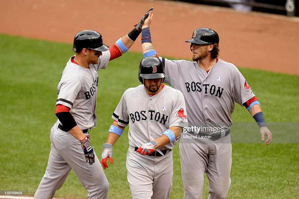 <a gi-track='captionPersonalityLinkClicked' href=/galleries/search?phrase=Will+Middlebrooks&family=editorial&specificpeople=7934204 ng-click='$event.stopPropagation()'>Will Middlebrooks</a> #16 of the Boston Red Sox (L) celebrates hitting a three run home run with <a gi-track='captionPersonalityLinkClicked' href=/galleries/search?phrase=Shane+Victorino&family=editorial&specificpeople=576251 ng-click='$event.stopPropagation()'>Shane Victorino</a> #18 (C) and Jared Saltamacchia (R) during the seventh inning of a a baseball game against the Baltimore Orioles on June 16, 2013 at Oriole Park at Camden Yards in Baltimore, Maryland.