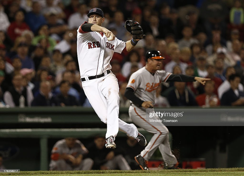 <a gi-track='captionPersonalityLinkClicked' href=/galleries/search?phrase=Will+Middlebrooks&family=editorial&specificpeople=7934204 ng-click='$event.stopPropagation()'>Will Middlebrooks</a> #16 of the Boston Red Sox holds onto the ball as he fakes a throw to first on an infield hit by Adam Jones #10 of the Baltimore Orioles while third base coach Bobby Dickerson #11 of the Baltimore Orioles holds a runner at third during the seventh inning of the game at Fenway Park on August 29, 2013 in Boston, Massachusetts.