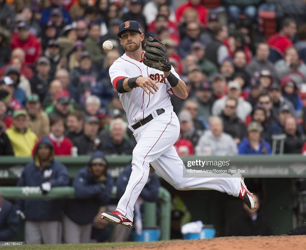 <a gi-track='captionPersonalityLinkClicked' href=/galleries/search?phrase=Will+Middlebrooks&family=editorial&specificpeople=7934204 ng-click='$event.stopPropagation()'>Will Middlebrooks</a> #16 of the Boston Red Sox makes a throw to first base against the Milwaukee Brewers at Fenway Park on April 4, 3014 in Boston, Massachusetts.