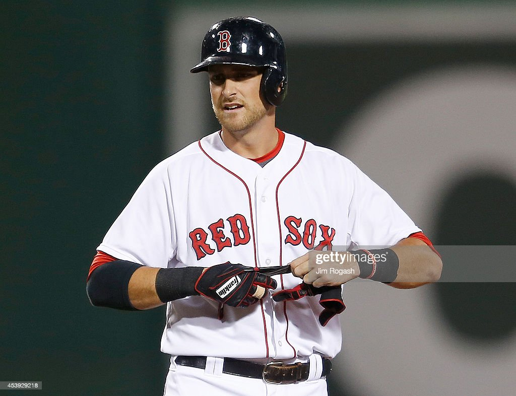 <a gi-track='captionPersonalityLinkClicked' href=/galleries/search?phrase=Will+Middlebrooks&family=editorial&specificpeople=7934204 ng-click='$event.stopPropagation()'>Will Middlebrooks</a> #16 of the Boston Red Sox reacts after he doubled in the seventh inning to break up a no hitter by Matt Shoemaker #52 of the Los Angeles Angels of Anaheim at Fenway Park on August 21, 2014 in Boston, Massachusetts.