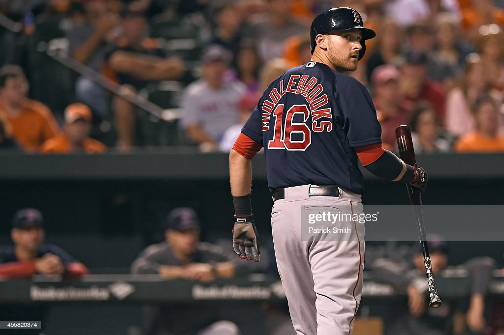 <a gi-track='captionPersonalityLinkClicked' href=/galleries/search?phrase=Will+Middlebrooks&family=editorial&specificpeople=7934204 ng-click='$event.stopPropagation()'>Will Middlebrooks</a> #16 of the Boston Red Sox reacts after striking out against the Baltimore Orioles in the seventh inning at Oriole Park at Camden Yards on September 20, 2014 in Baltimore, Maryland. The Baltimore Orioles won, 7-2.